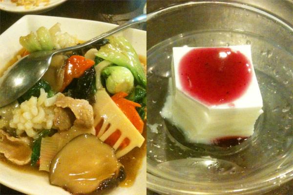 あんかけおこげ&野菜と杏仁豆腐